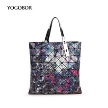Fashion Bao bao women pearl bag dazzle laser sac bags Diamond Lattice Tote 8*8 geometry Quilted shoulder bag Foldable handbags