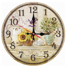 2017 hot sale wall clock wooden clocks quartz watch single face still life stickers modern style living room home decor(China)