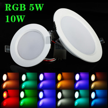 Best RGB 5W/10W LED Ceiling Panel Light AC85-265V 24Color Downlight Bulb Lamp with Remote Control Free shipping(China)