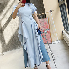 Buy TWOTWINSTYLE Midi Long Summer Dresses Women Ruffle Sleeve Dresses Female Lace Asymmetrical Casual Clothes Korean Fashion 2017 for $28.16 in AliExpress store