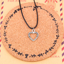 New Fashion hollow lovely heart Necklace Tibetan Silver Pendant Choker Black Leather Cord Factory Price Handmade Jewlery(China)
