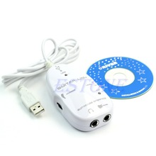 White Electric Guitar to USB Interface Link Audio Cable Music Recording Adapter For PC
