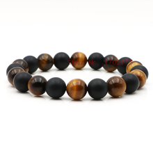 Unique Design Handmade Elastic Men Jewelry Gift 10MM Matte Black Onyx And Tiger Eye Natural Stone Beads Wrap Bracelets For Men(China)
