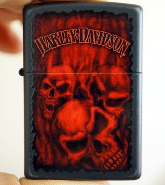 ZHY zpo brand Black Dumb paint H-D skull flame skull lighter(China (Mainland))