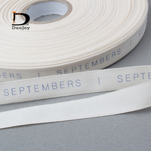 1000pcs roll cotton tag cloth label custom logo printed clothing tags beige bottom colors(China)