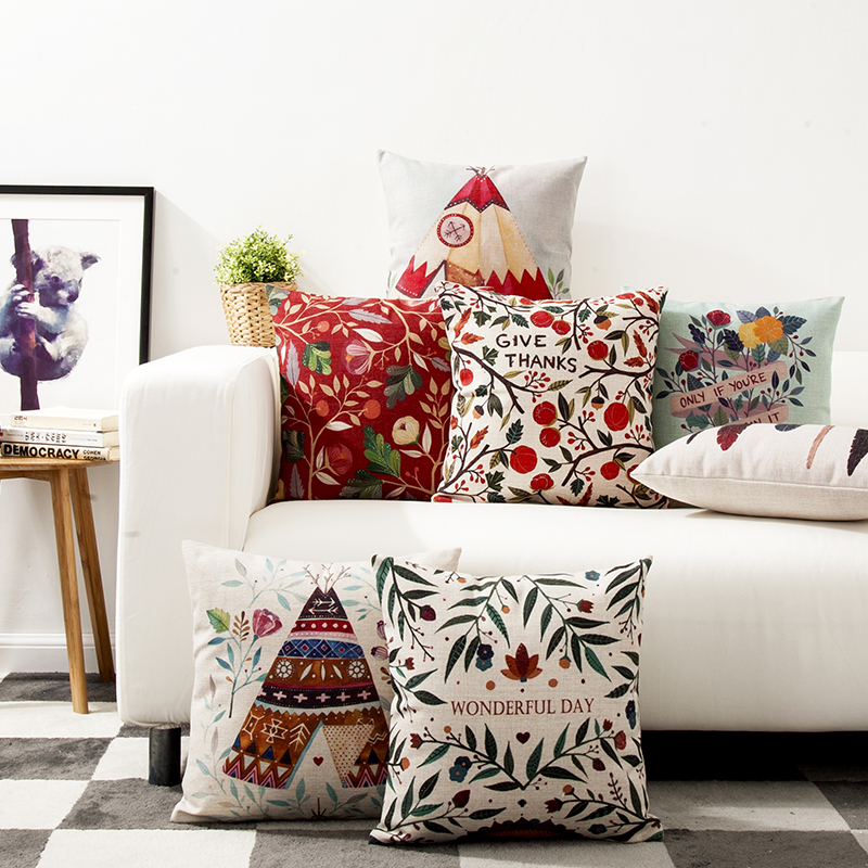 Country Bohemian Style Flower Feathers Pillow Cover Cushion Linen Cotton  Sofa Car Office Home Decoration Waist