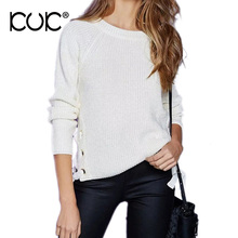 Kuk Pull Femme 2017 Jumper Women Sweaters And Pullovers Lace Up Knitwear Sweater Autumn Winter Sueter Mujer Feminino A569