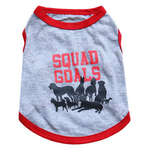 Fashion Pet Puppy Shirt Small Dog Cat Pet Clothes Dogs Team Squad Goals Grey Cotton Summer Vest Shirts for Pets