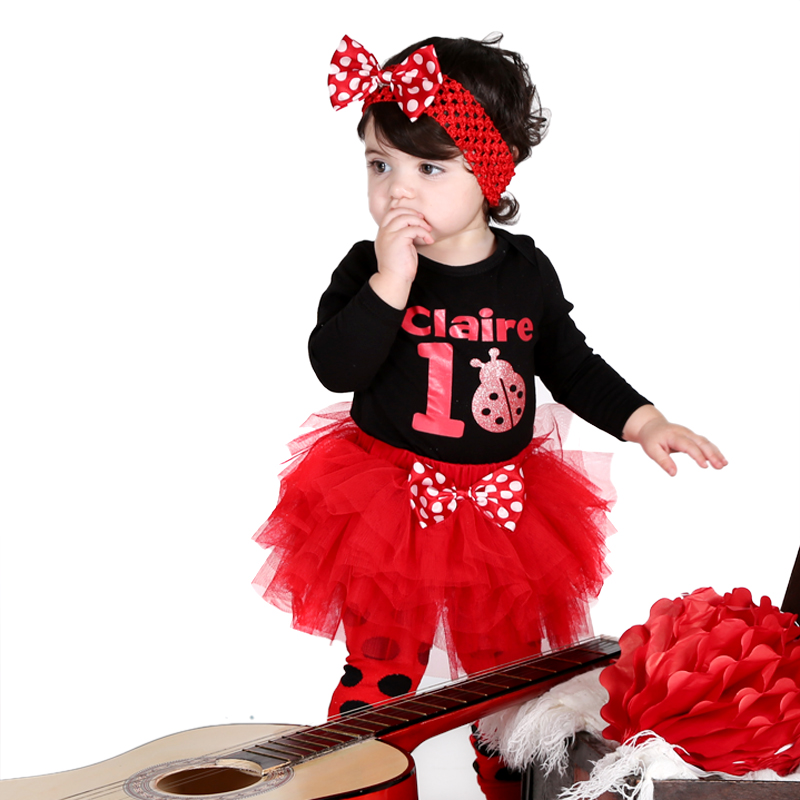 Fashion Baby Girl Long sleeve Bodysuit Ladybird Print Clothes Ruffle Tutu Skirt Polka Dots Leg Warmer 3 Pcs Headband Clothes Set<br><br>Aliexpress