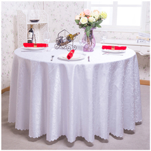 180x180cm White Round Table Cloth Lace Edge Tablecloths for Wedding Restaurant Hotel Party Table Cover Manteles Para Mesa(China)