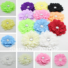 Free Shipping 11.5CM(4.5'') Fabric Peony Flowers Hair Accessory girls Hair Band Hat Head Crystal Flowers 110pcs/lot TH91