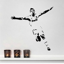 Removable Hot Carved Crstiano Ronaldo Wall Stickers Eco-Friendly Sports Football Player Wall Decals  Kids Boys Room Decal Y-122
