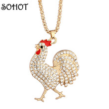 SOHOT Fashion Handcraft Women Jewelry Beautiful Gift Rooster Cock Hen Enamel Rhinestone Pendant Long Necklaces Costume Accessory