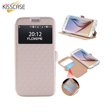 KISSCASE S6 S7 Edge Bag Case Leather View Window Flip Cases Card Slot Luxury Phone Cover Case For Samsung Galaxy S6 S6 Edge Plus