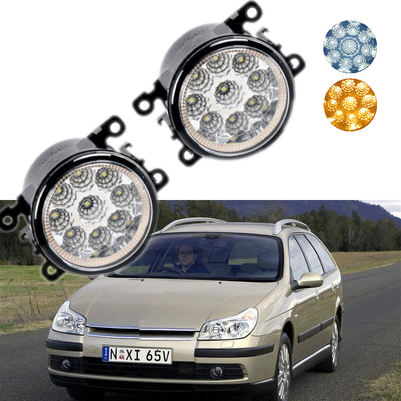 For Citroen C5 RC_ RE_ 2004-2008 9-Pieces Leds Chips LED Fog Light Lamp H11 H8 12V 55W Halogen Fog Lights<br>