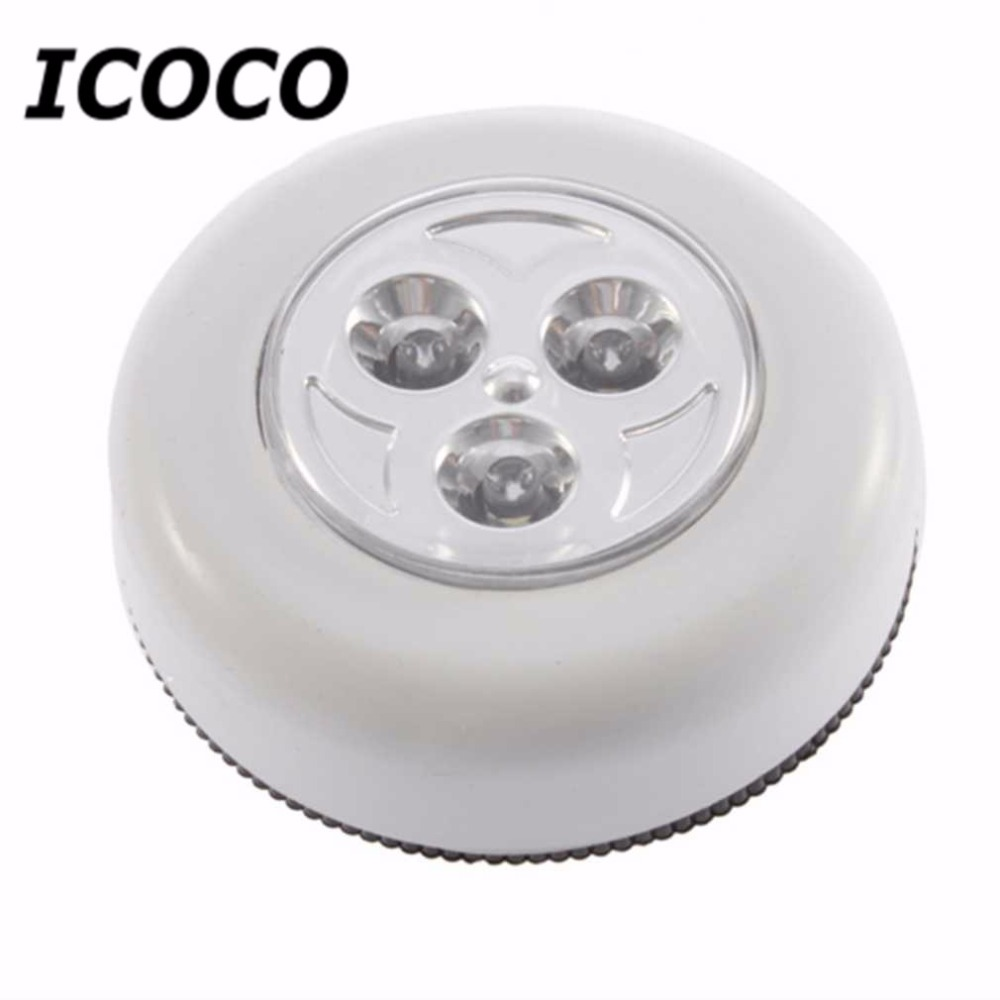 1 pc 2016 Hot Selling 3 LED Cordless Stick Tap Wardrobe Touch Light Lamp Battery Powered Closets Camping No wiring Light<br><br>Aliexpress