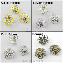 Free Shipping Jewelry Finding 10MM 5Leaf Hollow Flower End Beads Caps Gold Silver Bronze Nickel Plated(200Pcs=1Lot ! )(China)