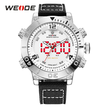 WEIDE Watch Men Nylon Band Strap Quartz Watch White Digital LED Analog Date Back Light Outdoor Army Wristwatch Montres Masculino(China)