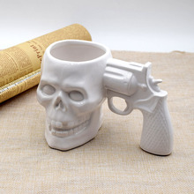 Creative ceramic mug,Pistol skull shape,so cool and in fashion ,it has Large capacity can be used in office or home