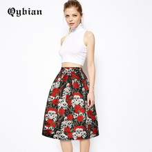 Vintage Skull Rose 3D digital printing Sexy Skirts Womens Empire Skirts Autumn Pleated Female Casual Knee-Length Skirts