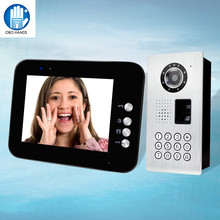 IP54 Waterproof  Wired 8'' TFT Color Video Doorphone Intercom System With Metal Fingerprint/Password IR Outdoor Doorbell Camera