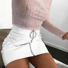 Buy Hot Sexy Ladies Mini Pencil Skirt 2018 Summer High Waist Womens Leather Skirt Bodycon Shorts White Black Vintage Jupe Femme for $7.77 in AliExpress store