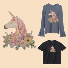 Flower Patches For Cute Cartoon Unicorn Cartoon T-shirt Patch Of Sweater Dresses Washable Heat Transfer Applique DIY
