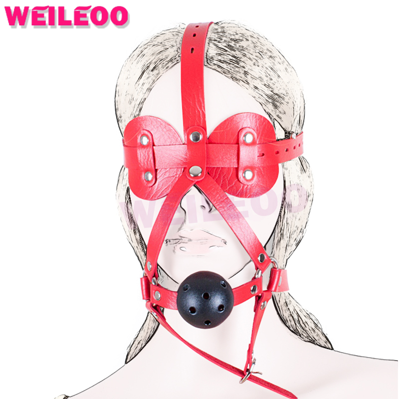 harness blindfold 44mm perforated open mouth gag ball adult sex toys bdsm bondage set fetish slave bdsm sex toys couples