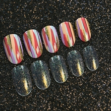 Full Wraps False Nails Art Tips Gold Glitter Dye Painting Pattern Transparent Artificial Acrylic Plastic Fake Nails Decor Z194