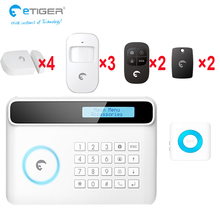 e-tiger S4 big clear LCD sreen easy setup support English/French/German/Spanish/Italian language home anti-thief security system(China)