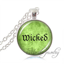 Silver Chain Wicked Necklace Letter Wicked Pendant Glass Dome Art Picture Wicked Green Jewelry Bijoux Femme Women Accessories(China)