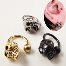 Isayoe 2 Pieces Free shipping Stainless Steel Skull Earring circular piercing ball Horseshoe Rings CBR ring Skulls earrings
