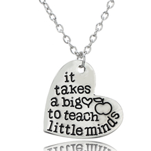 "Teacher's Jewelry ""It Takes a BIG Heart to Help Shape Little Minds"" Teacher Gift Stainless Steel Heart Dog Tag Pendant Necklace"