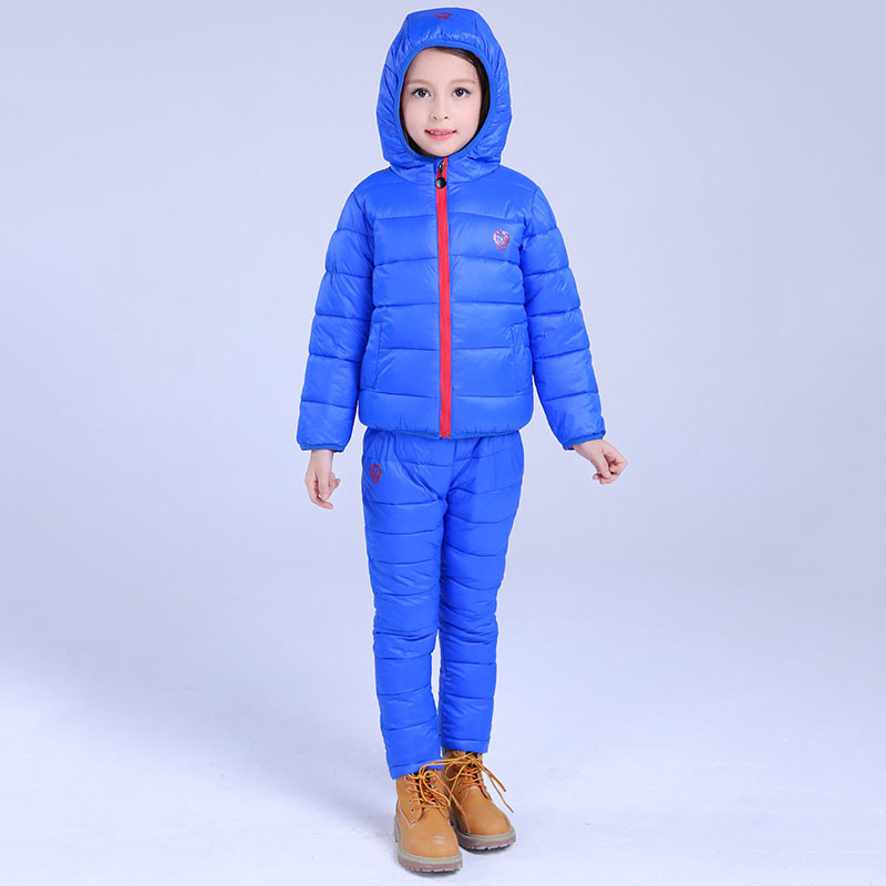 3Pcs/set Childrens Winter warm cotton-padded clothes sets for teens windproof cotton hooded coat+waistcoat+full-length pants<br>