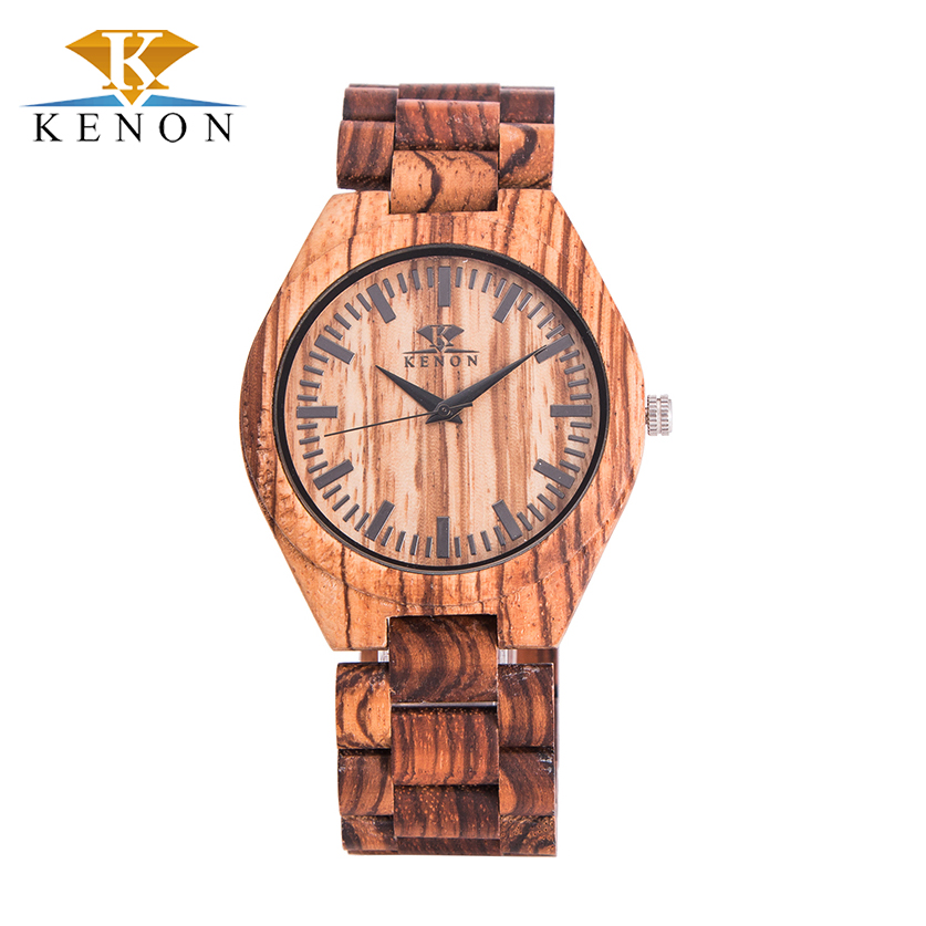Zebra Wood Brown New Design Kenon Men Watches Quartz Hardlex Shock Resistant High Quality Watch Best Choice For Lover Gift<br><br>Aliexpress
