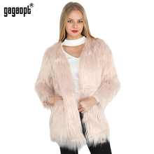 Gagaopt 2017 Elegant Faux Fur Coat Women Fluffy Warm Longsleeve Female Outerwear 5 Color Autumn Winter Fur Jacket Hairy Overcoat
