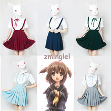 Japanese School Girls Solid Pleated Uniform JK Supspender Skirt Sailor Academy Style 5 colors