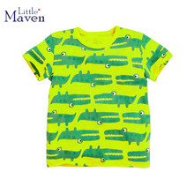 Little maven kids brand clothing 2017 new summer fashion baby boys clothes t shirt Cotton crocodile printing brand tops 50357