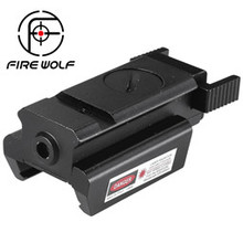 FIRE WOLF 650nm 300m Mini High quality Tactical Red Dot Laser sight Scope 28x26mm DC 4.5V Dual Weaver Rail Mount(China)