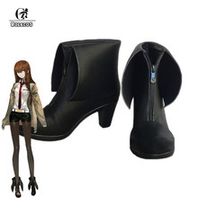 ROLECOS Steins Gate 0 Cosplay Shoes Makise Kurisu Cosplay Boots Women Black Boots Kurisu Makise Steins Gate 0 Cos(China)
