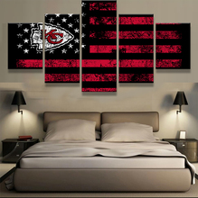 5 Pieces Kansas City Chiefs Sports Flag Logo Print Painting On Canvas Modern Home Pictures Prints Living Room Deco Fans Posters