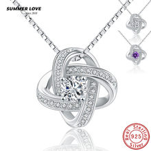 SUMMER LOVE Romantic Purple Amethyst 925 Sterling Silver Simple Necklace With Cubic Zirconia For Women Wedding Gift Jewelry(China)