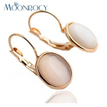 MOONROCY Free Shipping Fashion Earrings Jewelry Trendy Rose Gold Color Austrian Crystal Opal Earrings Wedding For Women Gift(China)