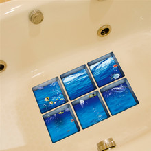 6pcs 13x13cm Ocean Fish Pattern 3D bathroom stickers set Removable Anti Slip Waterproof Bathtub Sticker blue color drop ship