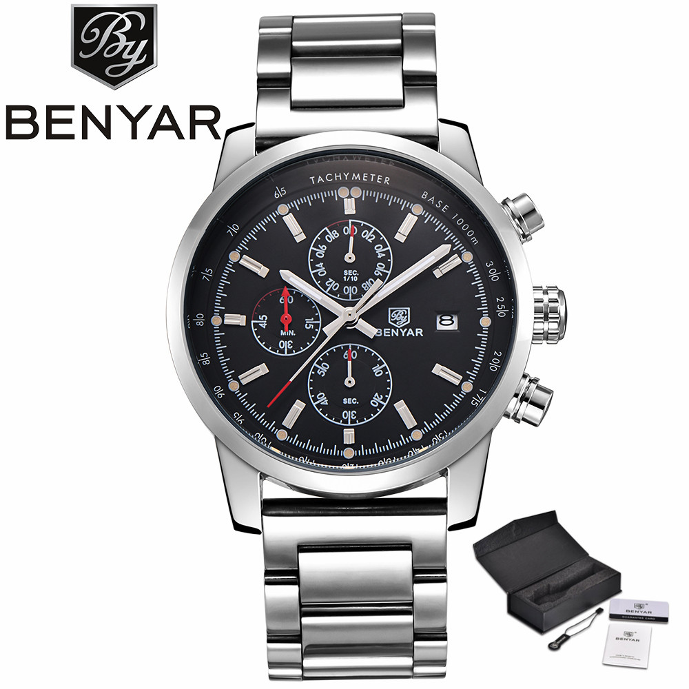 BENYAR Chronograph Top Luxury Brand Men Watches Pilot Business Date Display Full Stainless Steel Military Wristwatch Gift (+Box)<br>