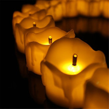 24pcs Yellow Flicker Wax Droped Cheap Candles Tear Drop Tea Light  Flameless Candle Battery Operated Pillar Electronic Candle