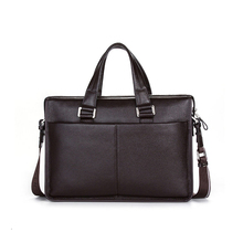"2017 Classic Brand Name Men Shoulder bag Messenger Bag GENUINE LEATHER Business Bags Black Briefcase for 10-14"" Laptop Notbook(China)"