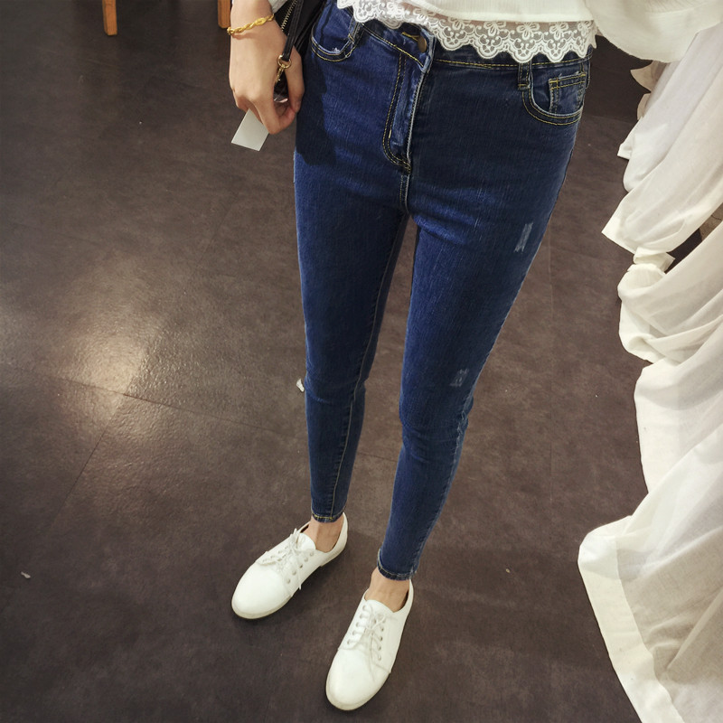 2017 Spring New Brand Solid Casual Jeans for Women Slim Button Pockets Hot Sale High Waist Jeans Lq512Одежда и ак�е��уары<br><br><br>Aliexpress
