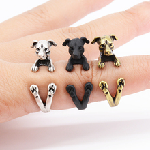 Drop Shipping Punk Vintage 3D Italian Greyhound Wrap Ring Anel Retro Boho Chic Jack Russell Rings For Women Men Fashion Jewelry