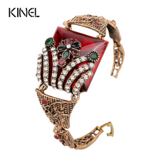 Kinel Vintage Jewelry Red Big Bracelet For Women Antique Gold Color Colorful Resin Turkish Bracelets Bijouterie 2017 New(China)